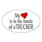 My Heart in the Hands Trucker Sticker (Oval)