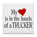 My Heart in the Hands Trucker Tile Coaster