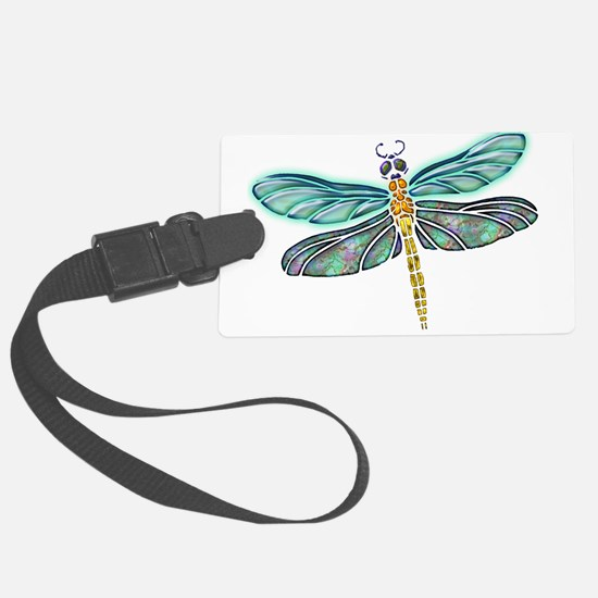 Glowing Stained Glass and Abalon Luggage Tag