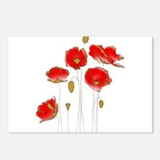 Whimsical Poppies in Red Postcards (Package of 8)