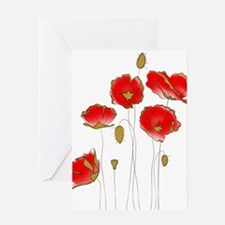 Whimsical Poppies in Red and Gold Greeting Cards