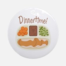 TV. Dinner Time Microwave Tray Ornament (Round)