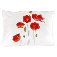 Whimsical Poppies in Red and Gold Pillow Case