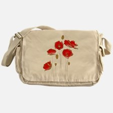 Whimsical Poppies in Red and Gold Messenger Bag