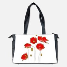 Whimsical Poppies in Red and Gold Diaper Bag