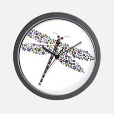 Pointilist Gem Studded Dragon Fly Wall Clock