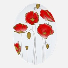 Whimsical Poppies in Red and Gold Ornament (Oval)