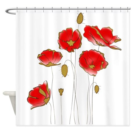 Whimsical Poppies in Red and Gold Shower Curtain by Admin