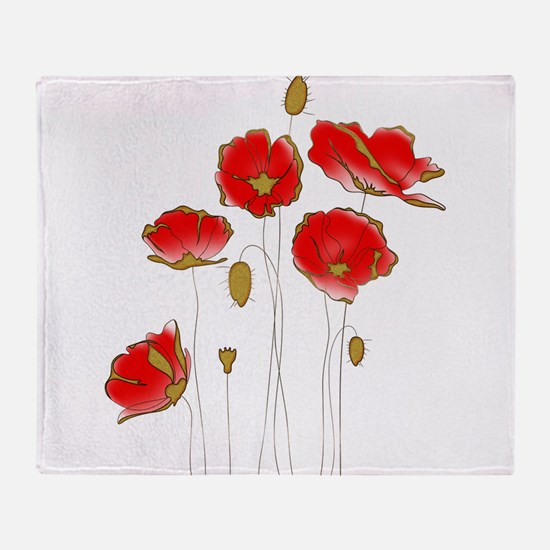 Whimsical Poppies in Red and Gold Throw Blanket