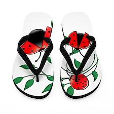 Delicate Ladybugs on Graceful Leaves Flip Flops