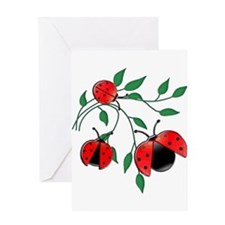 Delicate Ladybugs on Graceful Leave Greeting Cards