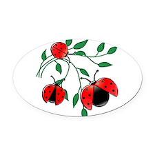 Delicate Ladybugs on Graceful Leav Oval Car Magnet