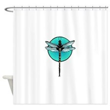 Graphic Dragonfly in Aqua Circle Shower Curtain