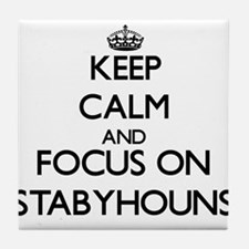 Keep calm and focus on Stabyhouns Tile Coaster