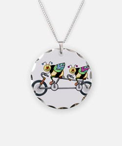 Bees on a Tandem Bike Necklace