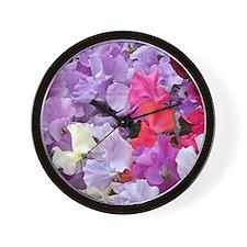 Sweet peas flowers in bloom Wall Clock