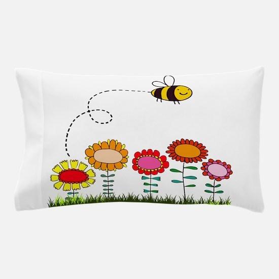 Bee Buzzing a Flower Garden Pillow Case