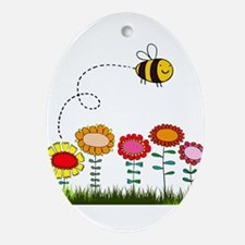 Bee Buzzing a Flower Garden Ornament (Oval)