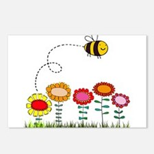 Bee Buzzing a Flower Gard Postcards (Package of 8)