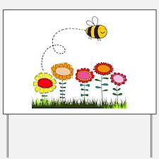 Bee Buzzing a Flower Garden Yard Sign