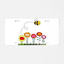 Bee Buzzing a Flower Garden Aluminum License Plate