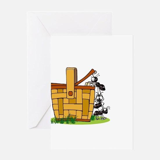 Ants Raiding a Picnic Basket Greeting Cards