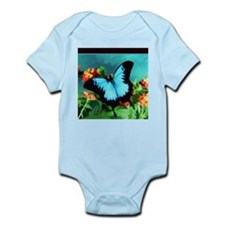 Blue Butterfly on Orange Lantana Flowers Body Suit