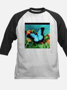 Blue Butterfly on Orange Lantana F Baseball Jersey