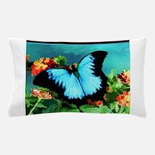 Blue Butterfly on Orange Lantana Flowe Pillow Case