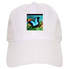 Blue Butterfly on Orange Lantana Flowers Paint Baseball Cap