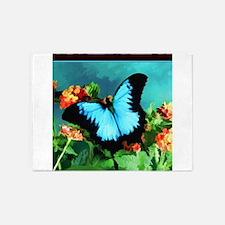 Blue Butterfly on Orange Lantana Fl 5'x7'Area Rug