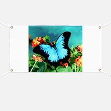 Blue Butterfly on Orange Lantana Flowers Pa Banner