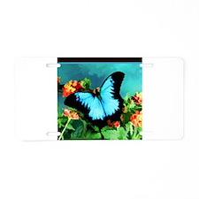 Blue Butterfly on Orange La Aluminum License Plate