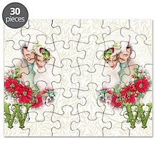 Monogram W Christmas Couple Puzzle