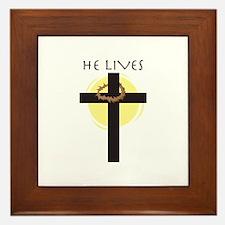 He Lives Framed Tile