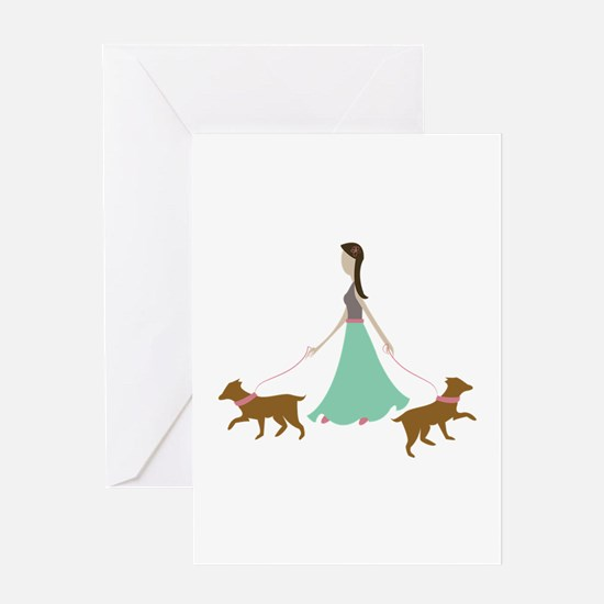 Walking Dogs Greeting Cards