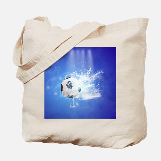 Soccer with water slpash Tote Bag