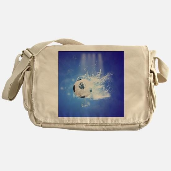 Soccer with water slpash Messenger Bag