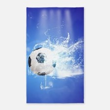 Soccer with water slpash Area Rug