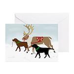 Black & Chocolate Labs Lead Greeting Cards