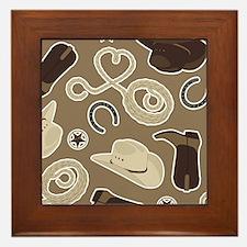 Cute Brown Cowboy Theme Pattern Framed Tile