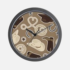 Cute Brown Cowboy Theme Pattern Wall Clock