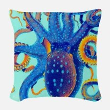Octopus Splash Woven Throw Pillow