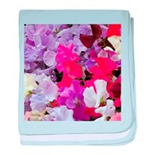 Sweet peas flowers in bloom baby blanket