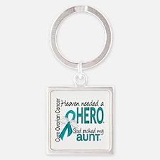 Heaven Needed Hero Ovarian Cancer Square Keychain