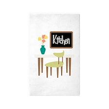 Kitchen Table Chair Chalkboard Flower Vase Area Ru