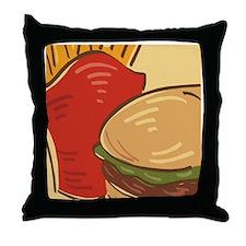 Hamburger and Fries Throw Pillow