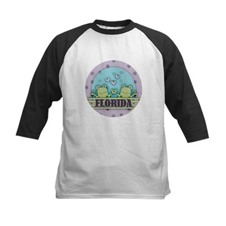 Cute Florida Froggy Kids Baseball Jersey