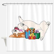 Christmas Corgi Shower Curtain