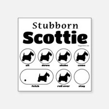 "Stubborn Scottie v2 Square Sticker 3"" x 3"""